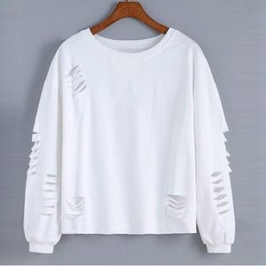 NEW Super Distressed Long Sleeve Crop S-3X White